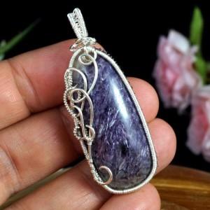 Czaroit, srebrny wisiorek z czaroitem, ręcznie wykonany, prezent dla niej, prezent dla mamy, prezent urodzinowy, biżuteria autorska