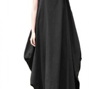 sukienka czarna oversize długa L