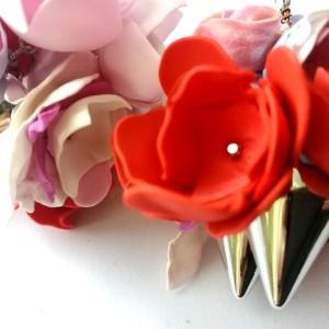 Klipsy pankowe kwiaty i kolce