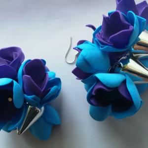kolczyki pankowe kwiaty i kolce