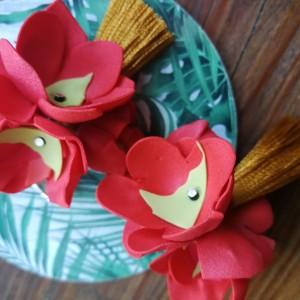 Klipsy kwiaty wiszące fredzle