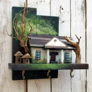 Dworek - drewniany wieszaczek na klucze
