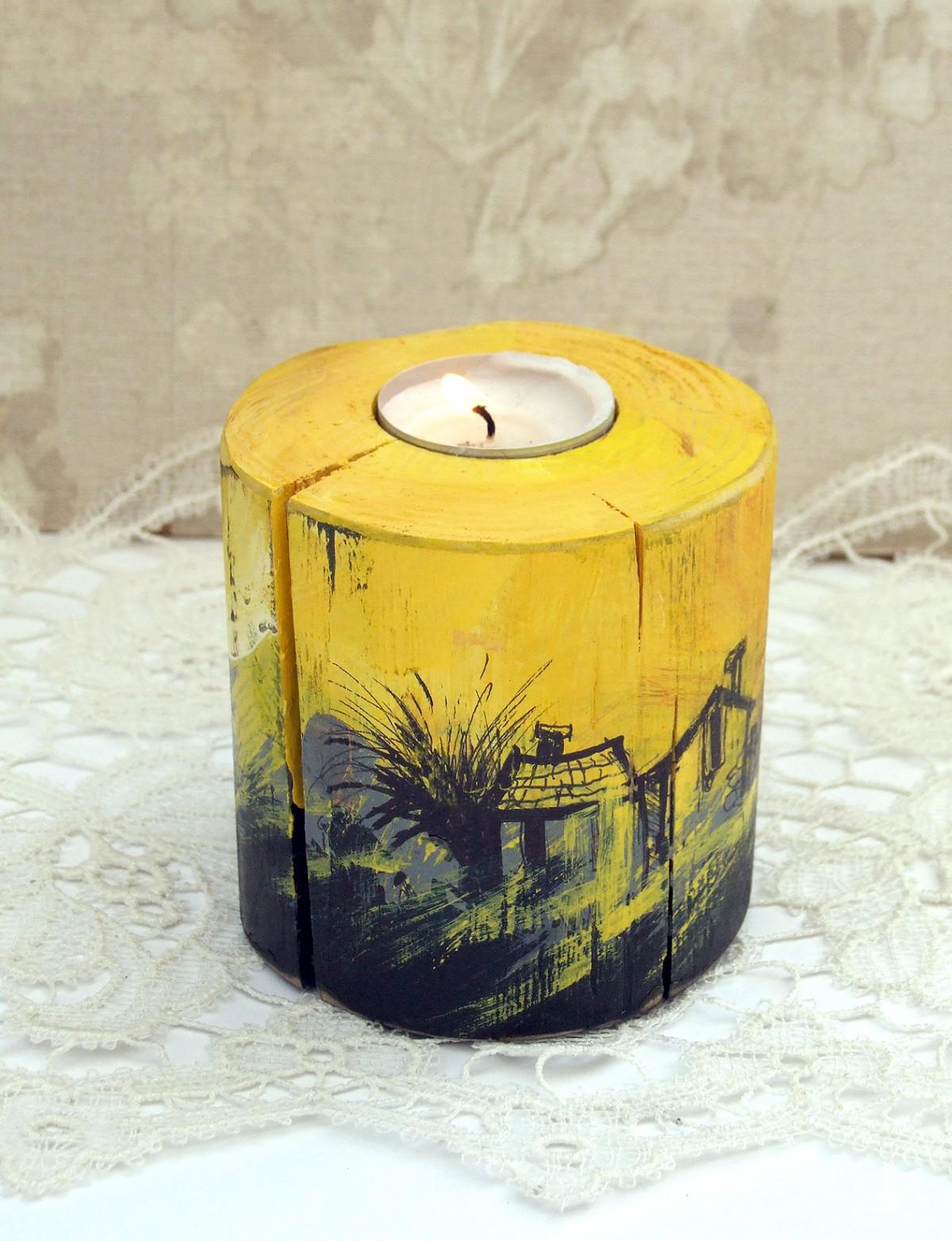 Drewniany świecznik, żółto-czarny, okrągły