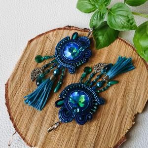 Granatowo-turkusowe kolczyki z kryształkami