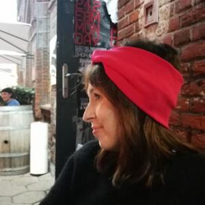 opaska damska podwójna czerwona handmade