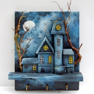 Drewniany wieszak na klucze - Zamek