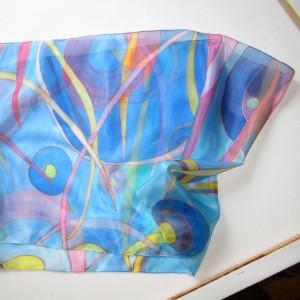 Słoneczne Powidoki, szal jedwabny malowany ręcznie