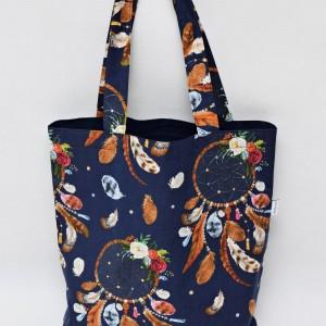 Torba na zakupy shopperka ekologiczna torba zakupowa na ramię eko siatka łapacz snów z zamkiem