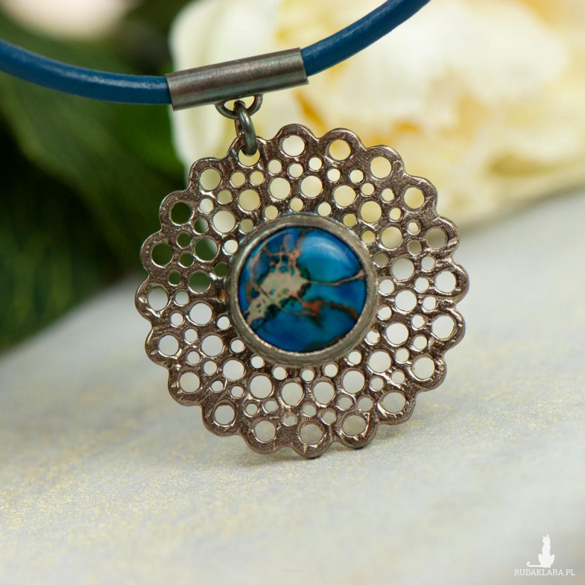 In blue naszyjnik ze srebra z jaspisem a863