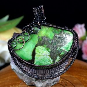 Jaspis, Miedziany wisior z jaspisem z pirytem, ręcznie wykonany, prezent dla niej prezent dla mamy prezent urodzinowy biżuteria autorska