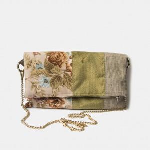 Składana torebka na łańcuszku w kwiaty