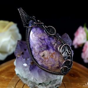 Czaroit, miedziany wisior z czaroitem, ręcznie wykonany, prezent dla niej, prezent dla mamy, prezent urodzinowy, niepowtarzalna biżuteria