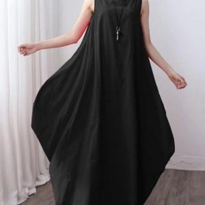 sukienka czarna oversize długa M