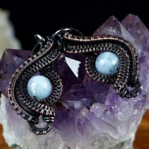Akwamaryn, Miedziane kolczyki z akwamarynem niebieskim patynowane, ręcznie wykonane, prezent dla niej, prezent dla mamy, prezent urodzinowy