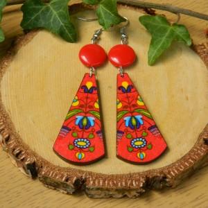 Kolczyki meksykańskie, biżuteria wzór ludowy, kolczyki boho etno, kolczyki Frida, kolczyki długie czerwone do flamenco