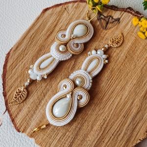 Biało-złote kolczyki ślubne
