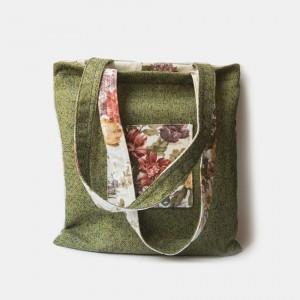 Double Bag zielona w kwiaty