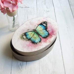 Pudełko z łuby na biżuterię - motyl