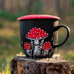 Kubek z pokrywką muchomor do herbaty liściastej