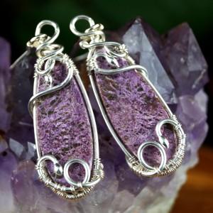 Purpuryt, Srebrny kolczyki z purpurytem, ręcznie wykonany, prezent dla niej, prezent dla mamy, prezent urodzinowy, niepowtarzalna biżuteria.