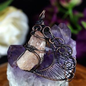 Kamień słoneczny Miedziany wisior z surową bryłką prezent dla niej, prezent dla żony, prezent dla mamy, ręcznie robiona biżuteria
