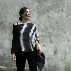 Ponczo - tunika czarno-białe