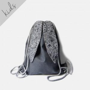 Grafitowy plecak królik z haftowanymi uszami