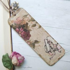 Zakładka do książki Vintage - kwiaty, baletnica