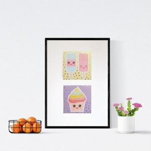 pastelowy plakat do dziecięcego pokoju, plakat ze słodyczami, obrazek do kuchni