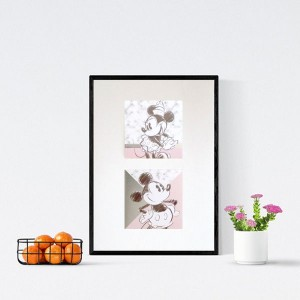 plakat z myszką Miki i Minnie,  ładny plakat dla dziewczynki, Minnie obrazek, Miki obrazek