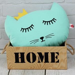 Poduszka kotek z koroną –miętowy