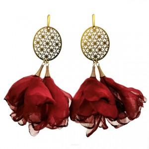 Kolczyki do sukienki w kwiaty c585 bordowe