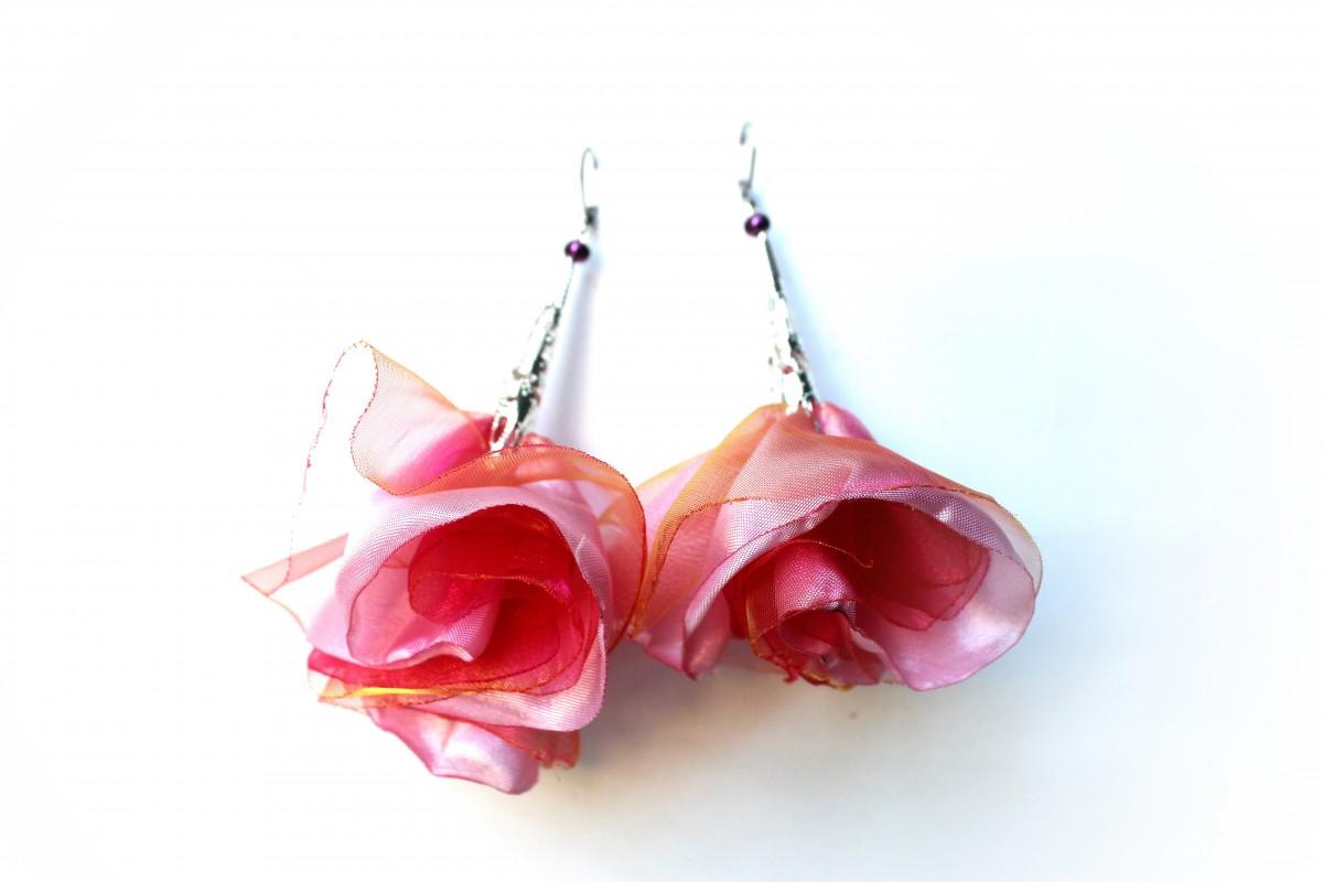 Kolczyki z tkaniny ,, Różane zauroczenie ,,