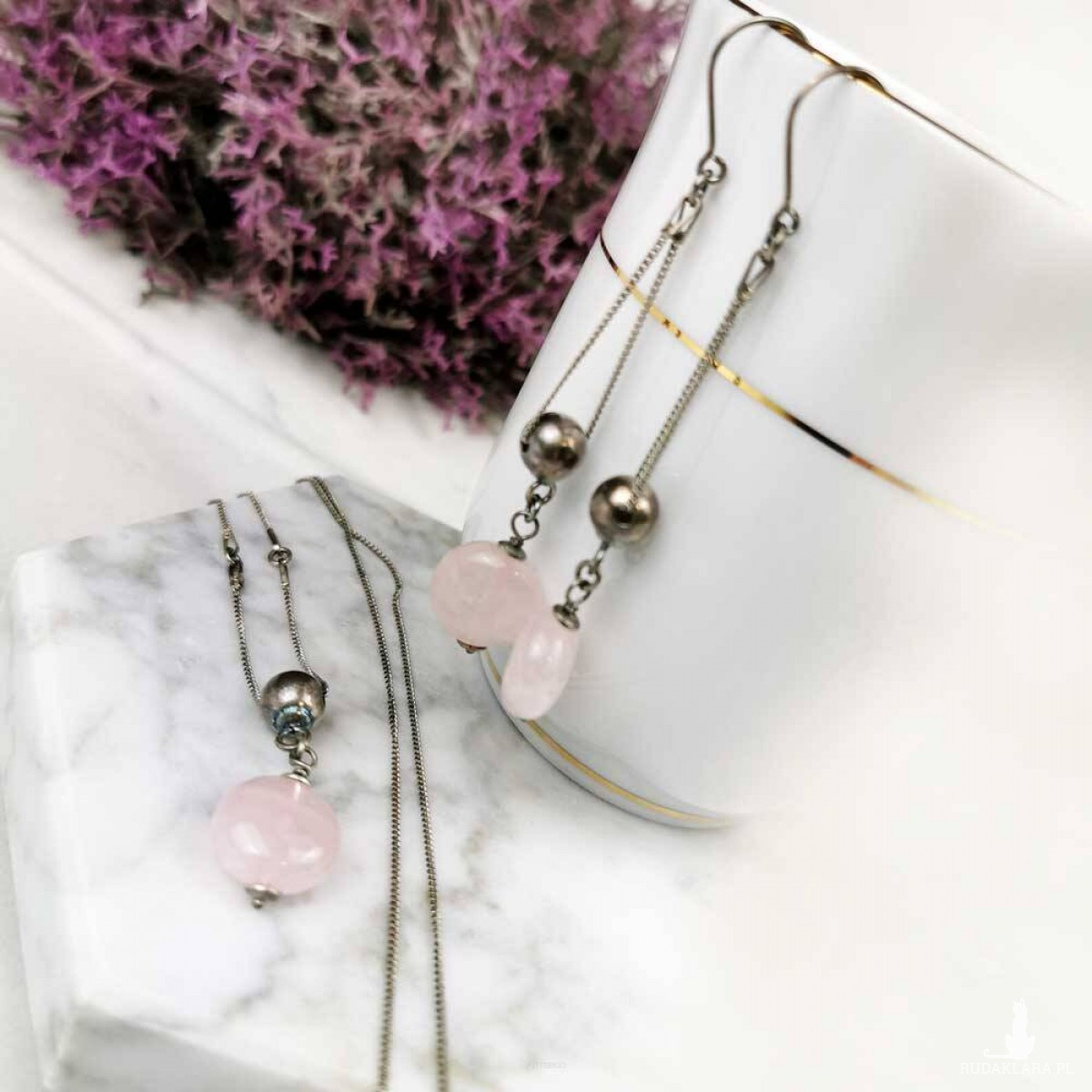 Komplet ze srebra z kwarcem różowym a820