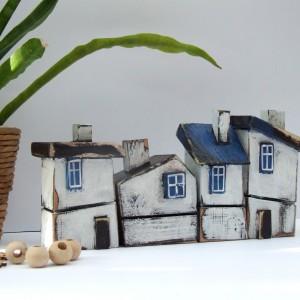 Krzywe domki dekoracyjne z drewna - 4 SZTUKI