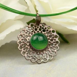 Kropla zieleni - wisior srebrny z agatem a860