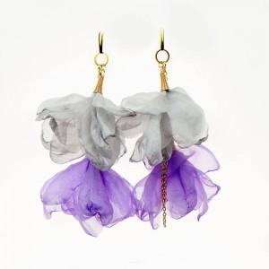 Liliowe kolczyki kwiatowe z łańcuszkiem c857-11