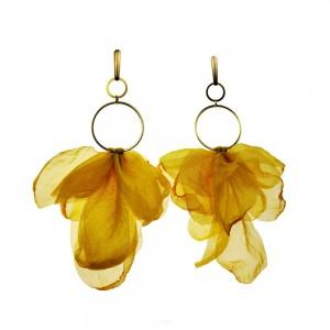 Kwiatowe letnie kolczyki boho w kolorze żółtym c682