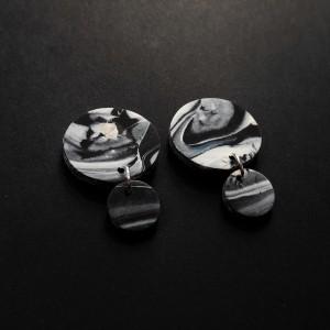kolczyki koła marmurkowe mini