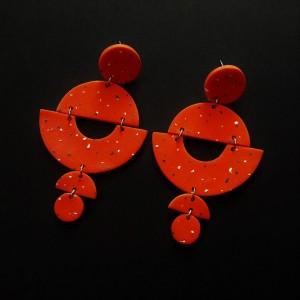 kolczyki pomarańczowe z modeliny