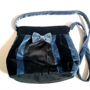 torba aksamitna granatowo czarna