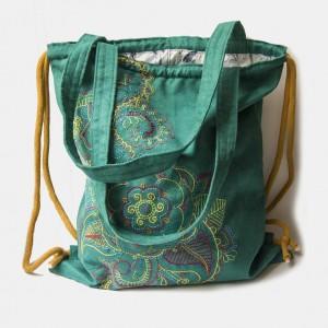 Plecak torba 2w1 haftowany turkus