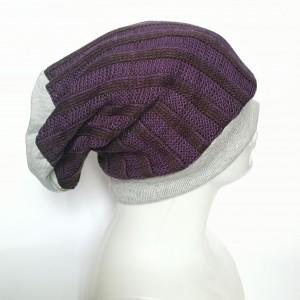 czapka fioletowa na podszewce