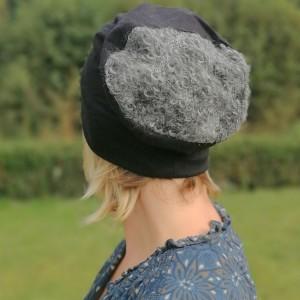czapka damska szaro czarna