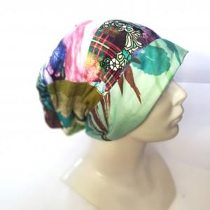 Czapka bardzo kolorowa patchworkowa damska