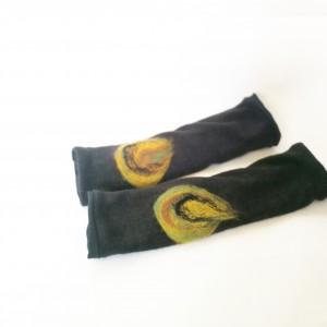 mitenki w kolorze czarnym filcowane wełna merynosów