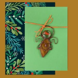 Kartka z małym aniołkiem - życzenia świąteczne