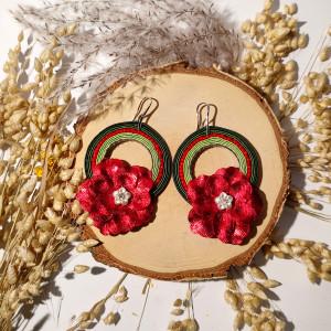 Ivy - kolczyki sutasz koła z kwiatem