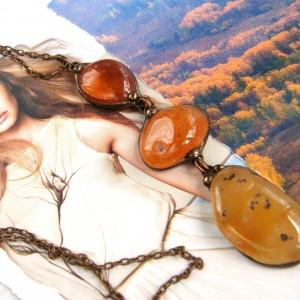 Długi wisiorek z łańcuszkiem: karneol