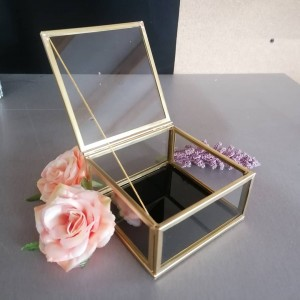 Pudełko szklane, złote, organizer, szkatułka, na obrączki, biżuterię